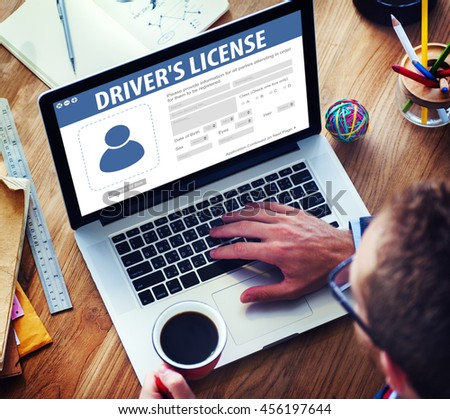 Drivers License Registration Application Webpage Concept - stock photo