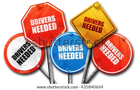 drivers needed, 3D rendering, rough street sign collection