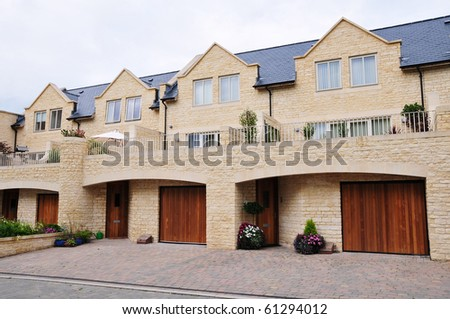 Driveway and Garages of Town Houses - stock photo
