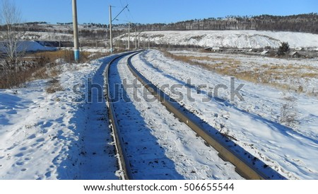 driveways railway station in Russia in the winter on a sunny day