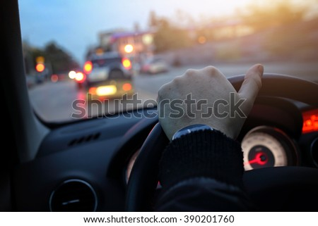 driving a car in the evening