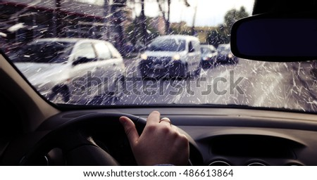 Driving a car on a snowy day