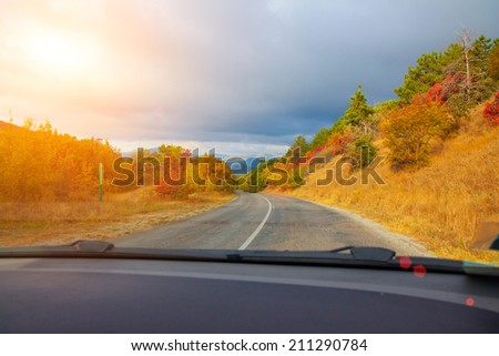 Driving a car on mountain road