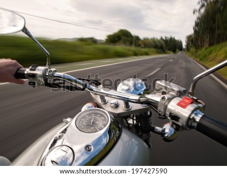 Driving a motorcycle on the road