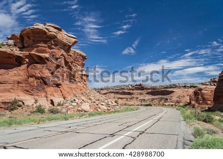 Driving along Grand Mesa near Colorado National Monument at Grand Junction, Colorado, USA - stock photo