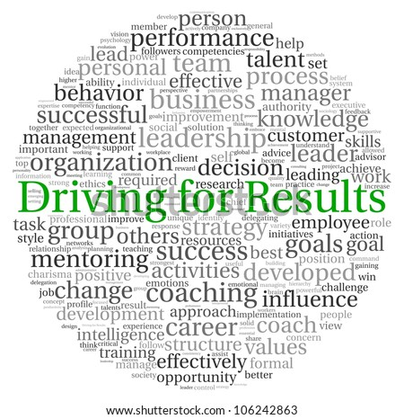 Driving for Results concept in word tag cloud on white background