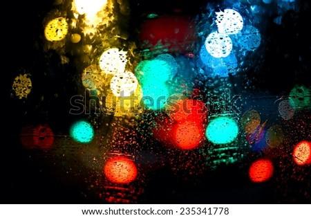 Driving in rain  - stock photo