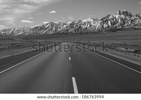 Driving in the Eastern Sierra, Sierra Nevada Mountains, California - stock photo