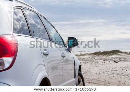 Driving on the baech of South Padre Island. - stock photo
