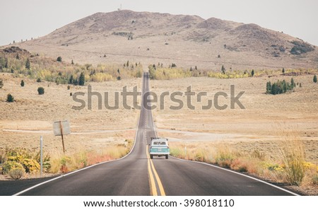 Driving on the Californian open road - stock photo
