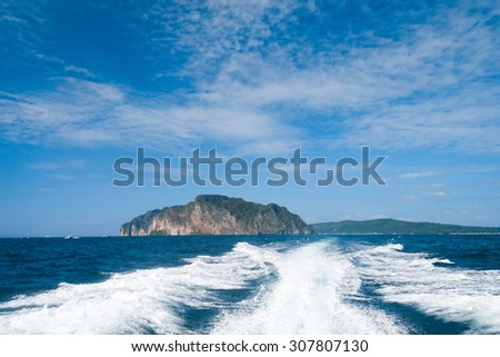 Driving over Water Foaming Way  - stock photo