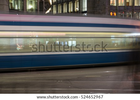 Driving streetcar in the city of Zurich