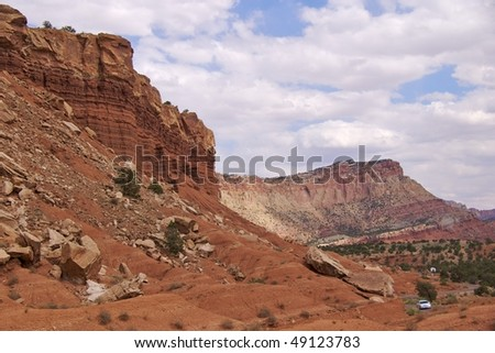 Driving through Capitol Reef National Park - stock photo