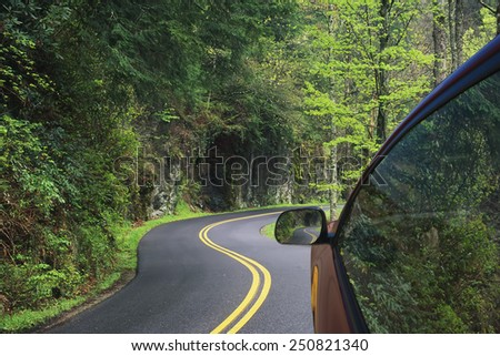 Driving through the winding roads of the Great Smoky Mountains National Park, Tennessee, USA - stock photo