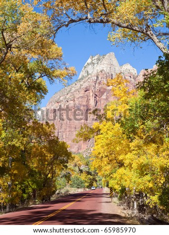 Driving through Zion Canyon National Park in the Fall.