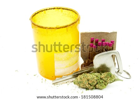 Driving Under the Influence, Marijuana and Cannabis, Car Key and Weed  - stock photo