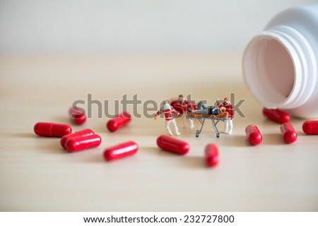 Drog overdose concept. Macro photo - stock photo