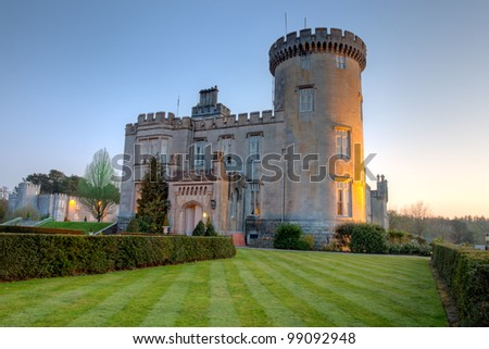 Dromoland Castle at dusk in west Ireland. - stock photo