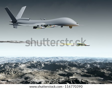 Drone aircraft launching an air to ground missile - stock photo