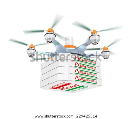 Drone carrying pizza for fast food delivery concept - stock photo