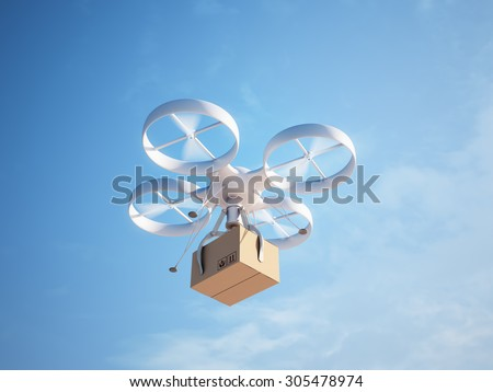 Drone delivering a package - autonomous logistics - stock photo