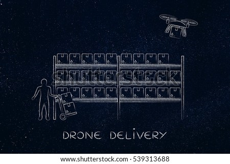 drone delivering a parcel from an online order to the customer, collecting the item at the warehouse