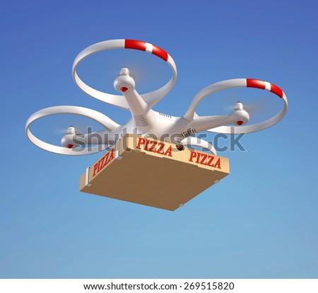 Drone delivering pizza box - stock photo