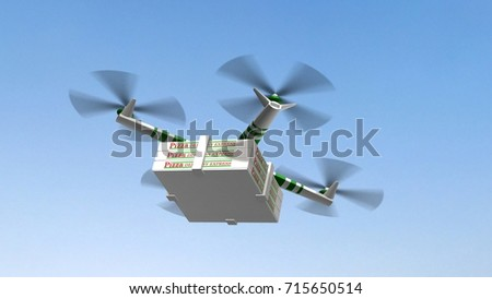 Drone Delivering Pizza Boxes