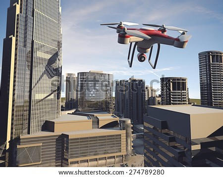 Drone Flying for Aerial Photography or Video Shooting - stock photo