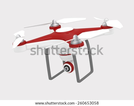 Drone Flying for Aerial Photography or Video Shooting - 3D Render - stock photo