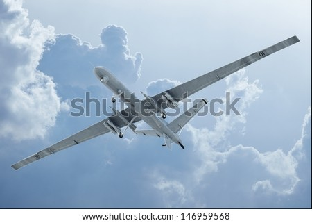Drone flying in the clouds bottom view - stock photo