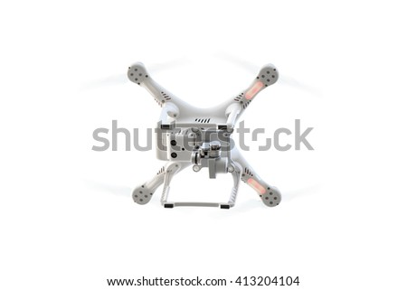 drone flying isolated on white background with clipping path
