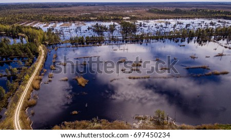 drone image. aerial view of rural area with swamp lakes with blue water - panoramic image