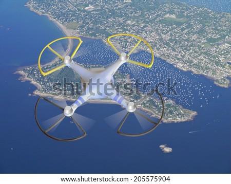 drone over Cape Cod - stock photo