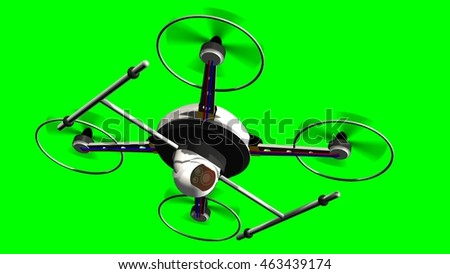 drone quadrocopter with camera in flight on green screen - 3d render