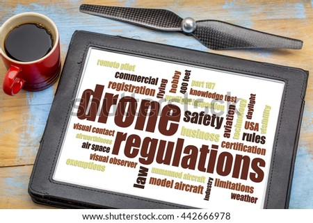 drone regulations (USA related) word cloud on a digital tablet with a cup of coffee - stock photo