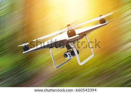 Drone with digital camera flying on a natural background: 3D rendering