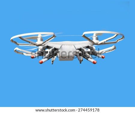 Drone with missiles. New technology for war. Digital artwork fictional vehicle on UAV theme. - stock photo