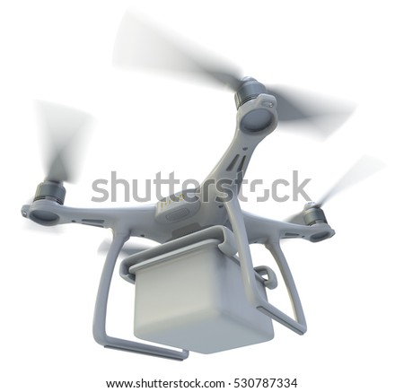 Drone with plastic container isolated on white. 3D Rendering