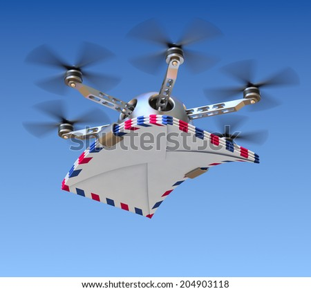 Drone with the letters - stock photo