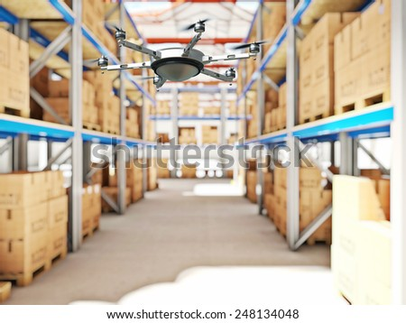 drone work in classic warehouse 3d image - stock photo
