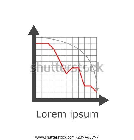 Drop chart on grid and white background, 2d illustration, raster