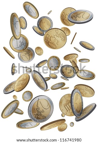 Drop coins of 1 euro, 2 euro and 50 cents - stock photo