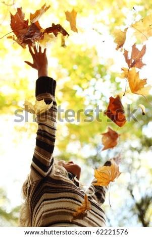 drop hands up in the air - stock photo