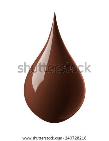drop of chocolate isolated on white background - stock photo