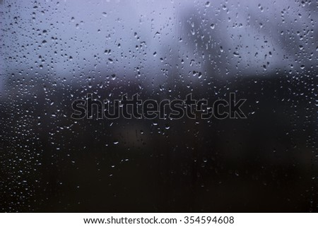 Drop of water after rain on the window. Background with drop of water