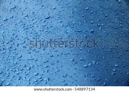 drop of water on blue Umbrella.