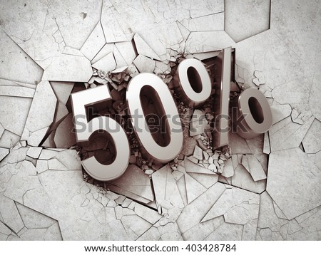 Drop price by 50 percent on concrete background. 3D illustration.