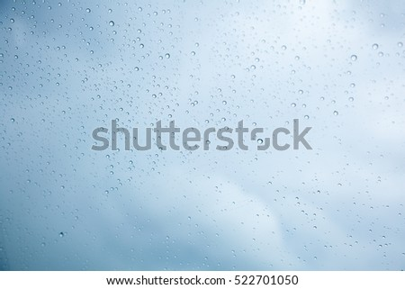 Drop rain on glass  for  background, cloud background