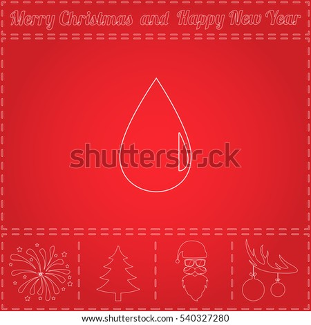 drop Simple flat button. Thin line pictogram and bonus outline symbol for New Year - Santa Claus, Xmas Tree, Firework, Balls on deer antlers. Illustration icon